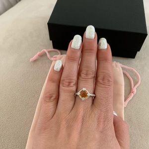 Judith Ripka citrine zirconium  925 silver ring
